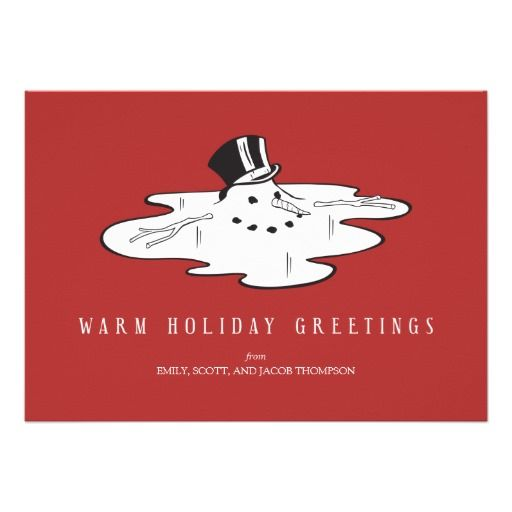 Melted snowman funny holiday cards