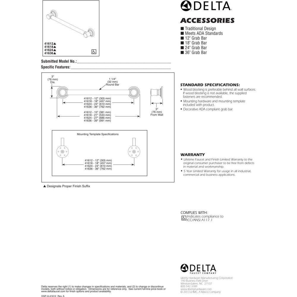 Delta Faucet 41612 Universal Polished Chrome Grab Bars Bathroom ...