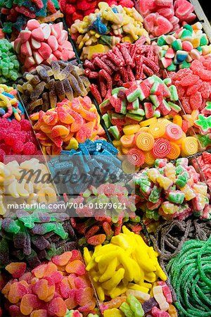 Candy Selection at La Boqueria, Barcelona, Spain - Stock Photos : Masterfile