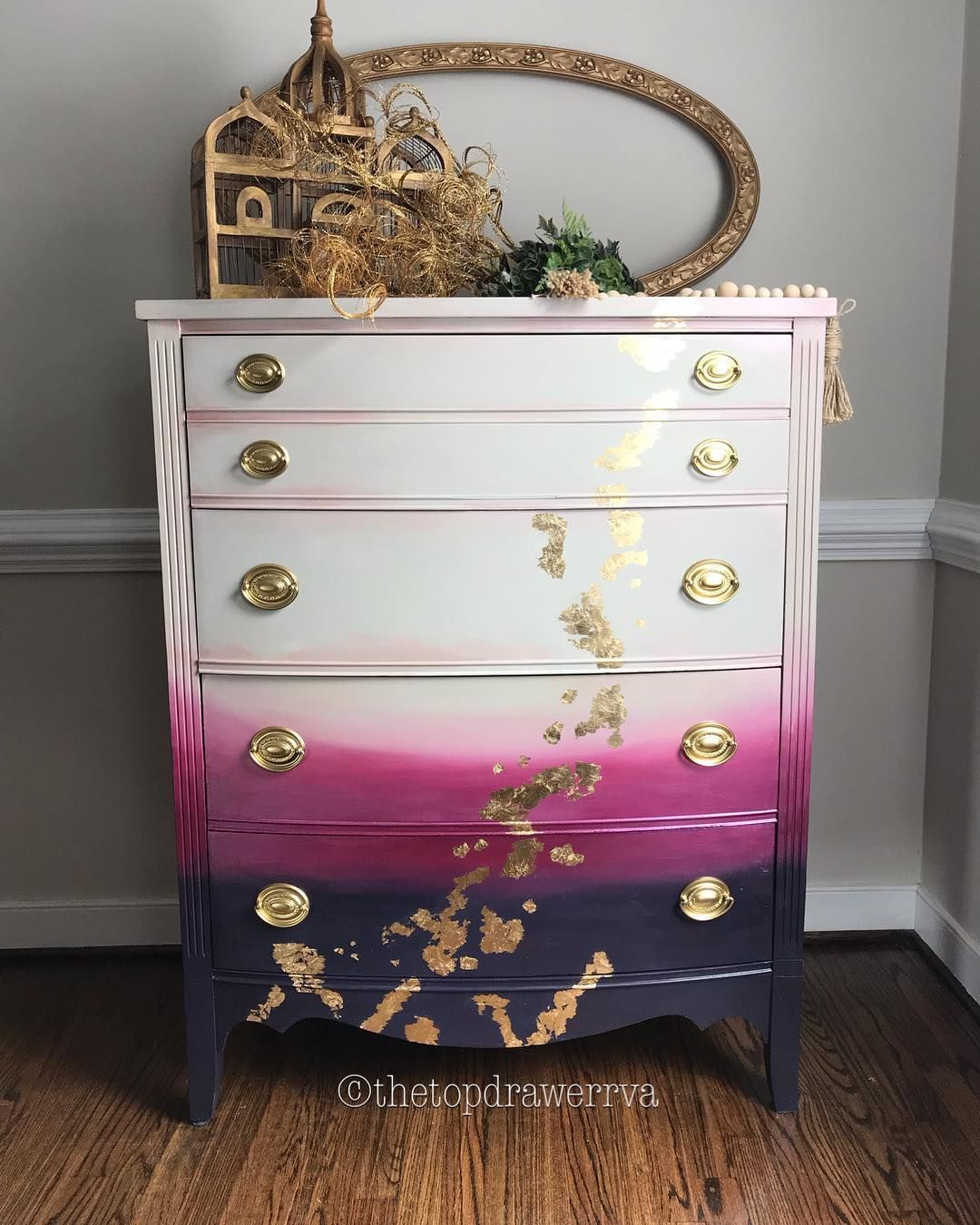 The Top Drawer Rva On Instagram Aubergine To Faded Dove Grey Pearl Pink Highlights Ombre With Metallic Shine G Gold Leaf Furniture Painted Furniture Decor