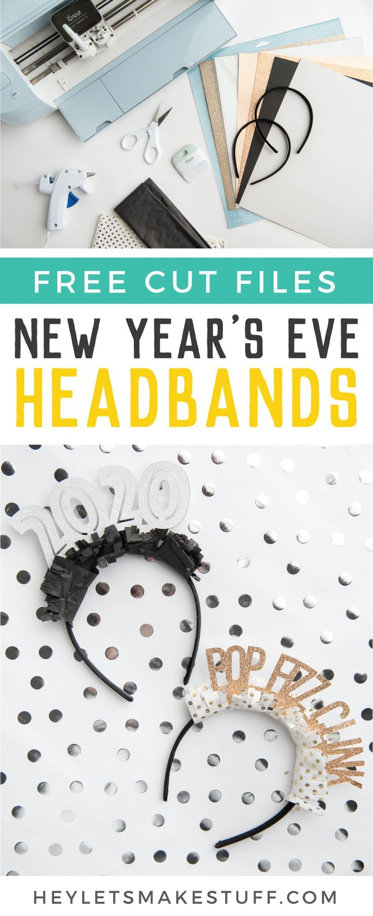 Make these New Year's Eve party headbands using supplies from JOANN and your Cricut or other electronic cutting machine! Perfect for New Year's Eve celebrations and ringing in the new year! #newyears #newyearseve #NYE #newyearseveparty #partyideas