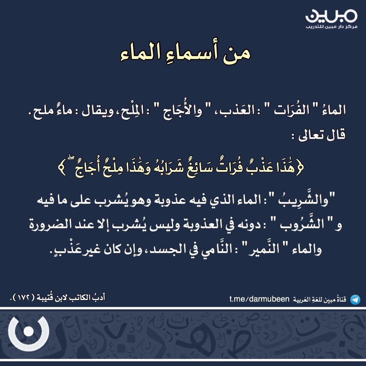 من أسماء الماء في اللغة العربية Arabic Words Words