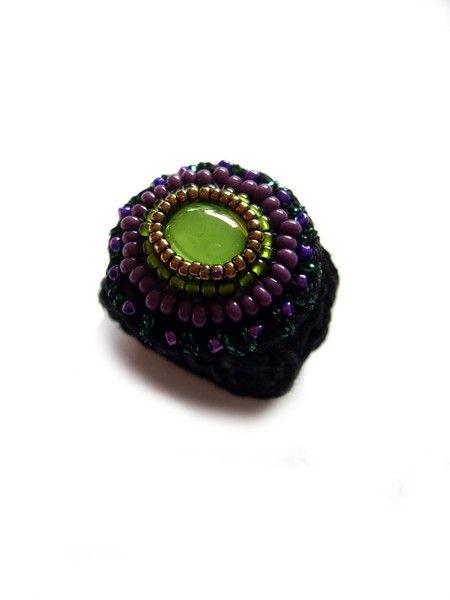 Häkelring Mit Grünem Glas Cabochon Von Crochetjewels Auf