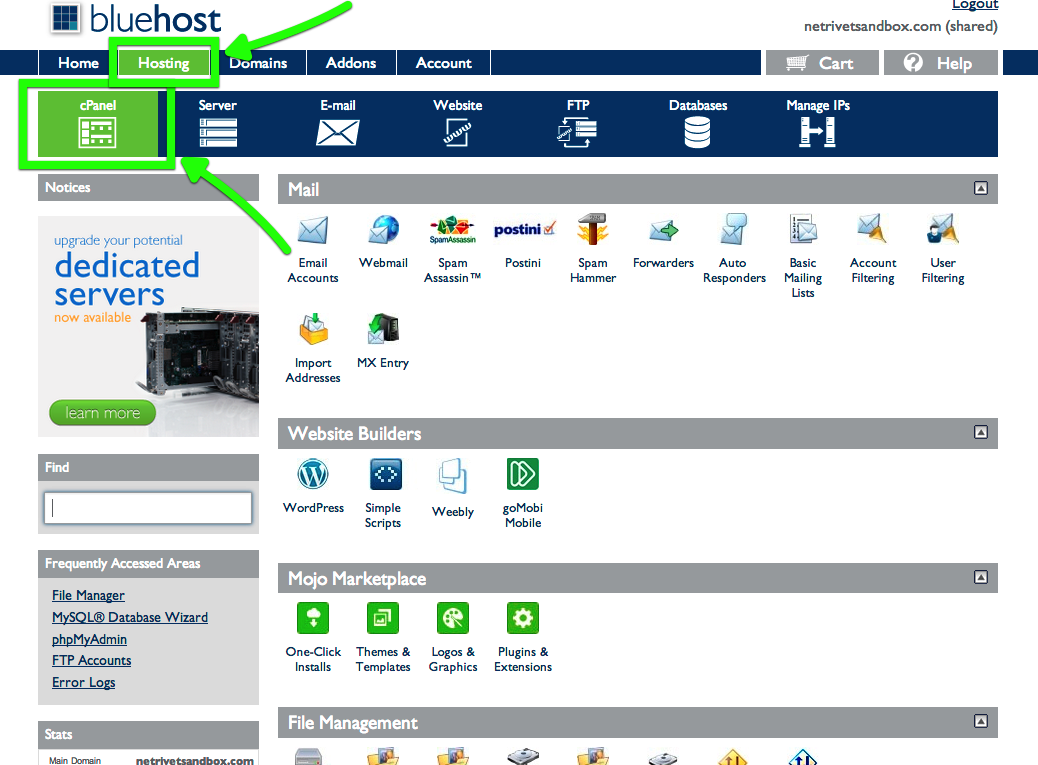 BluehostcPanel Cpanel, How to start a blog, Bluehost