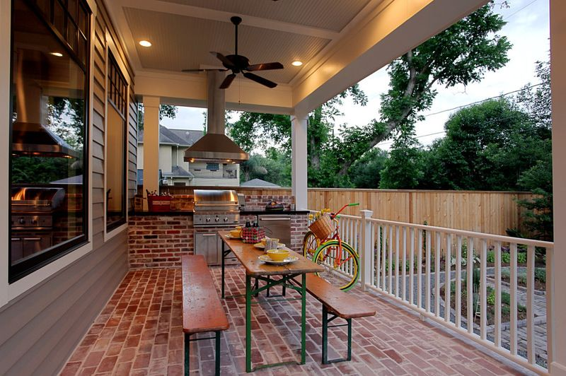 Narrow Table And Bench Es Benches Can Tuck Under Push The Outdoor Kitchen Designoutdoor