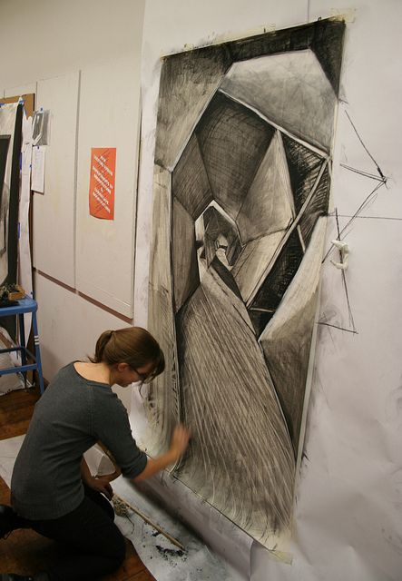 Large charcoal drawings - like the idea of drawing on this scale