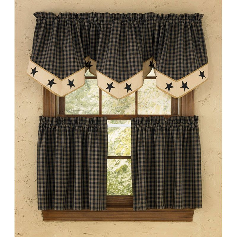 Sturbridge Black Star Lined Tier Set Country Kitchen Curtains Country Style Curtains Valance Curtains