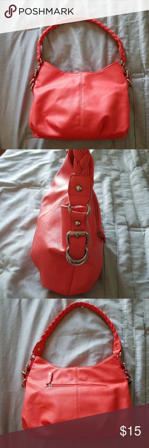 "Apt. 9 Coral Faux Leather Handbag Great summer bag!! Braided strap, slouch style, large inside, intimates zipper pockets, cell phone and lipstick pocket, outside zipper on back, silver hardware, and in good condition!! No major flaws, but light signs of use. 13""X8"", 9"" drop, and 17.5"" strap. Apt.9 Bags"