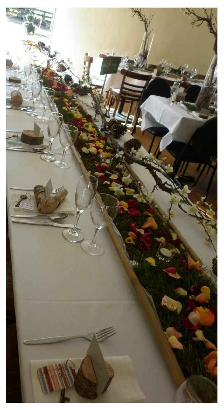 This Is The Head Table Of A Woodland Set Up With The Grass As The Table Runner Blocks Of Wood For Name Tags Branc Wedding Table Setup Table Table Decorations