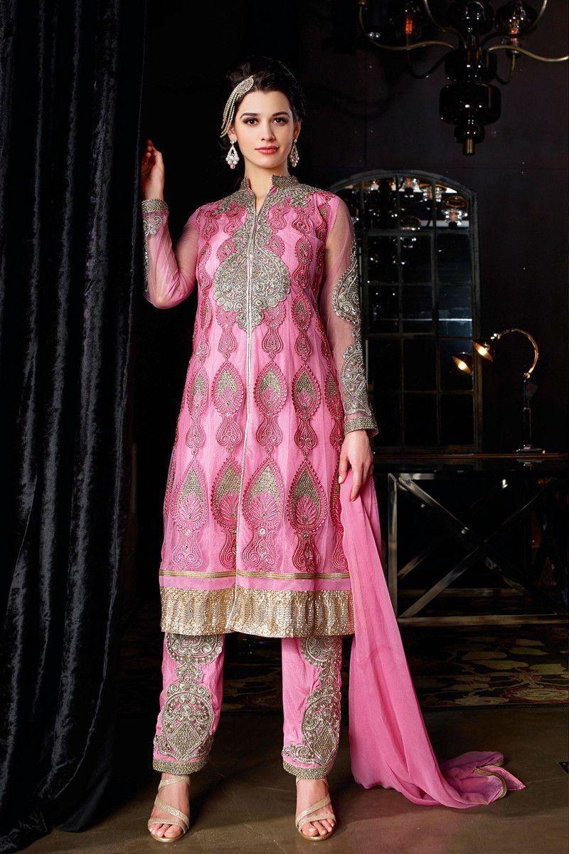 Designer salwar kameez mesmeric peach color net designer suit - Pink Net Designer Suit Indian Salwar Kameezsalwar