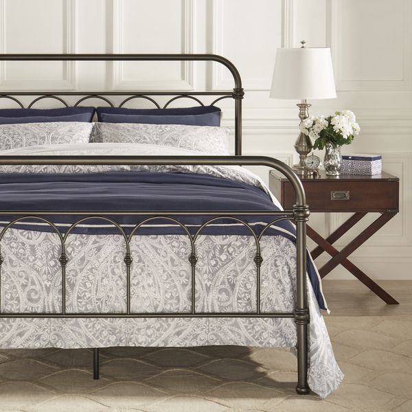 f8292d3bd7c453 TRIBECCA HOME Morocco Dark Bronze Casted Knot King-sized Metal Bed ...