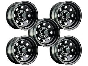 Pro Comp Series 97 Rock Crawler Xtreme 1 Piece Gloss Black Steel Qty 5 With 5x5 Bolt Pattern In 17x9 Size 4 25 Black Steel Wheels Rock Crawler Mustang Wheels