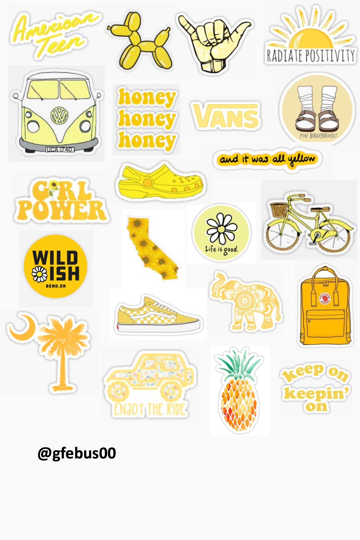 photo about Aesthetic Stickers Printable titled gfebus yellow concept template :) stickers ✰ inside of 2019