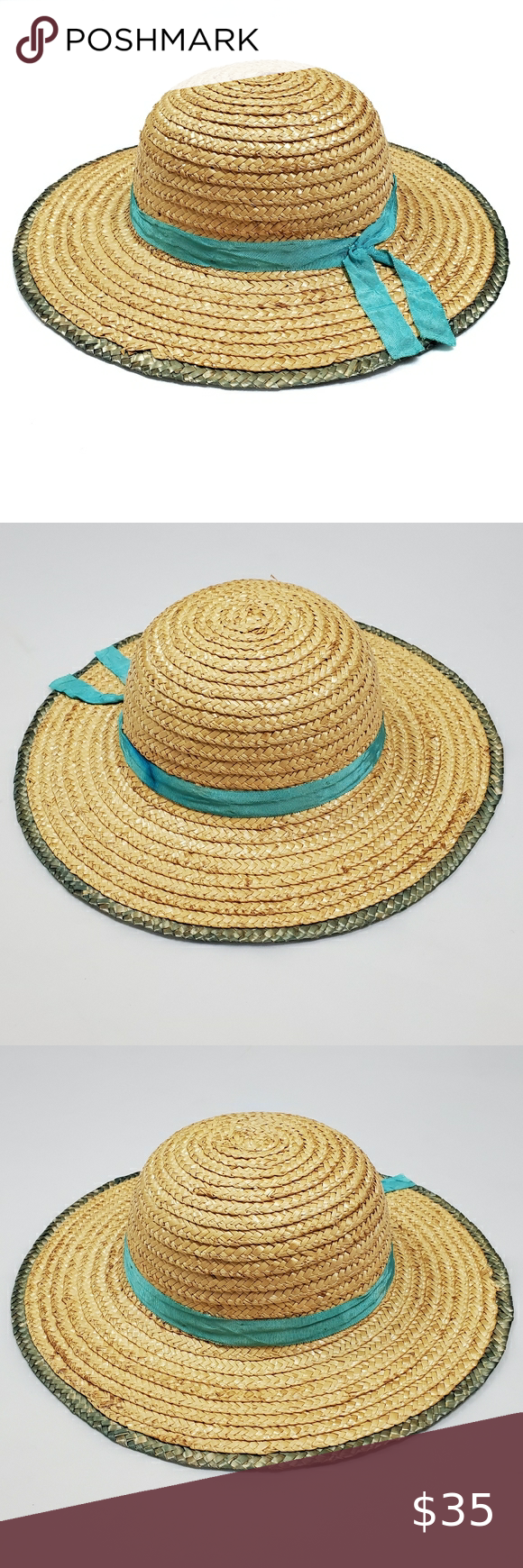 Vintage Chinese Straw Sun Hat Tan Blue Wide Brim Sun Hats Sun Hats For Women Large Leather Tote Bag