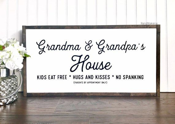 Grandma And Grandpas House Painted Sign Wood Sign Grandma And