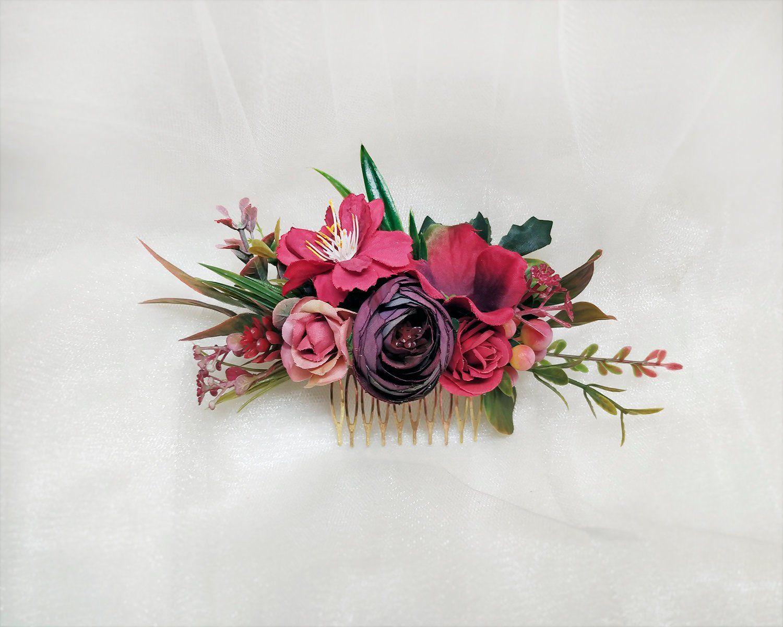 Burgundy flower hair comb Bride hair flower Wedding head piece Burgundy blush floral hair clip Bride flower comb wine red flower hair