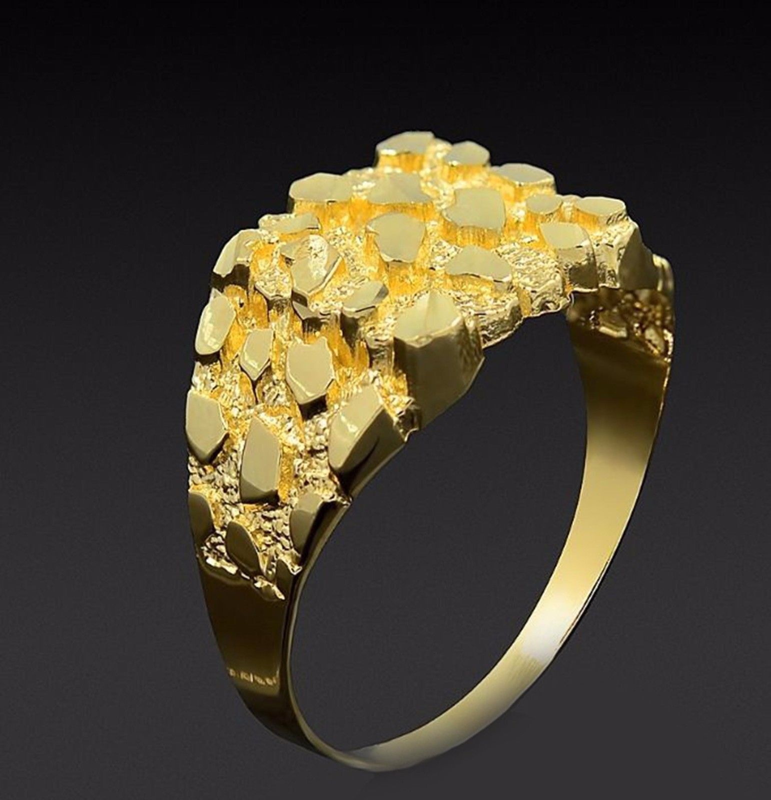 Men S 10k Yellow Gold Nugget Ring 3 0 G Mens Gold Bracelets Gold Nugget Ring Yellow Gold Diamond Engagement Ring