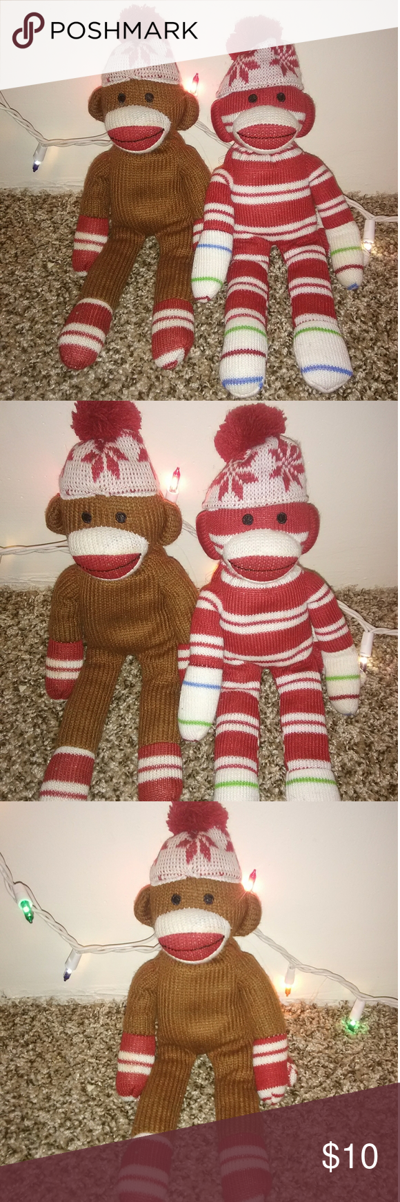 Christmas Sock Monkey Set You get both.  In excellent condition. Any questions please ask.  Thanks for viewing, happy poshing! Holiday #sockmoneky