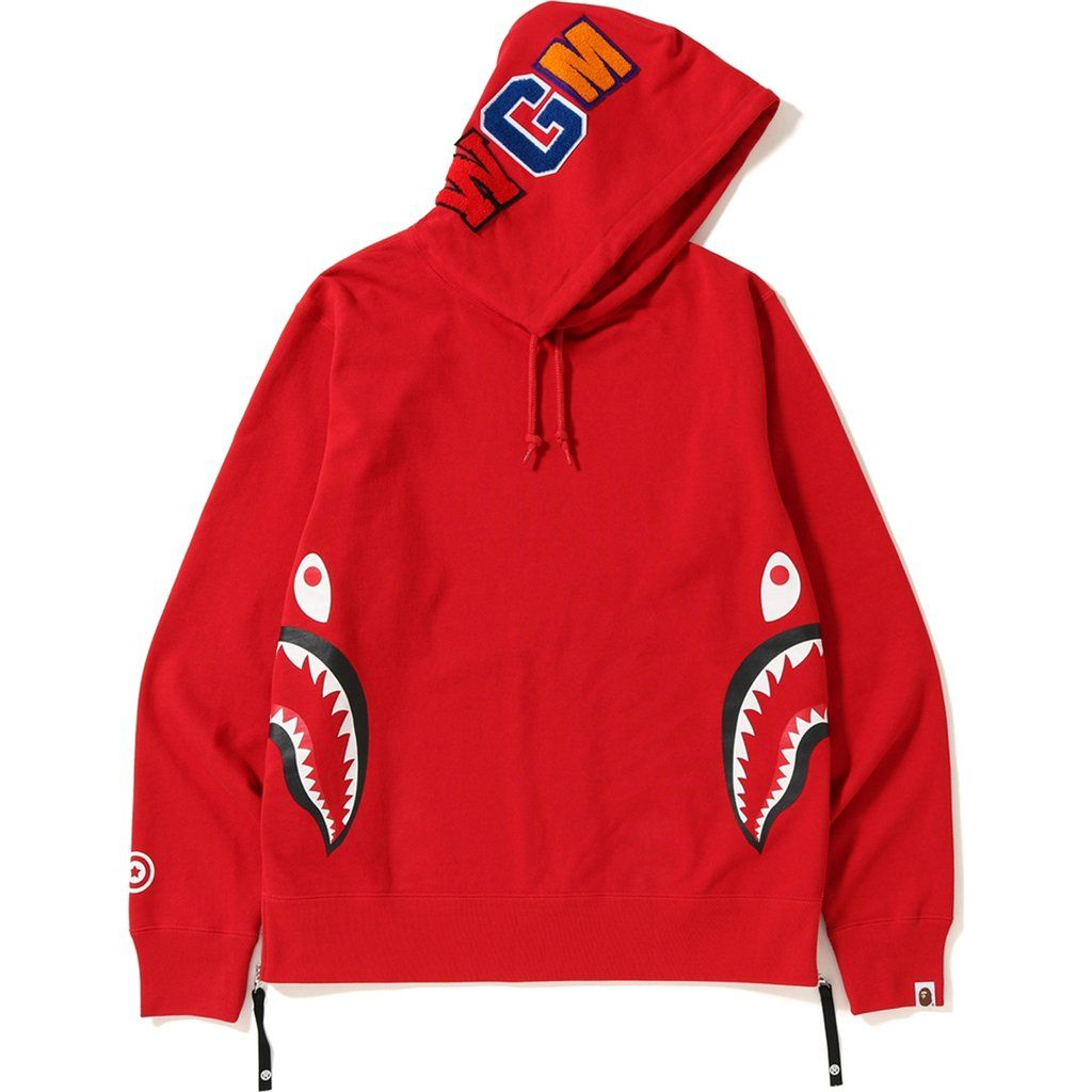 BAPE SIDE ZIP SHARK WIDE PULLOVER HOODIE RED. #bape #cloth