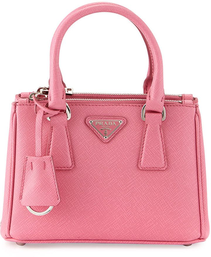 02ee67956f53be Prada Saffiano Lux Micro Tote Bag w/ Shoulder Strap, Pink (Begonia) -- Prada  saffiano leather tote bag with steel hardware. Rolled top handles with  square ...