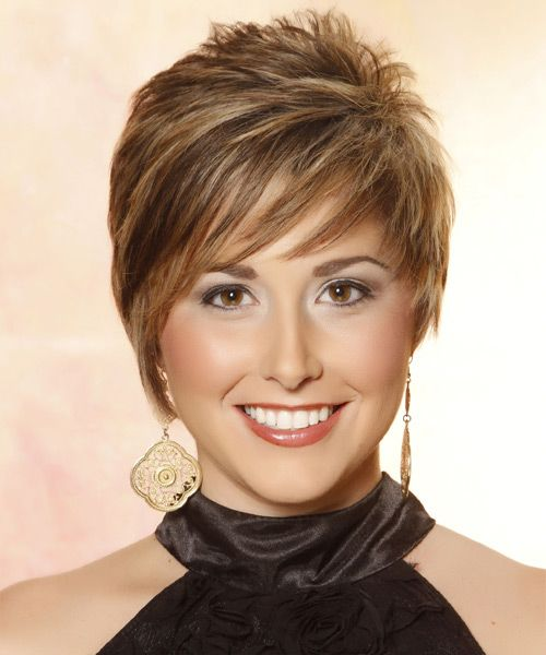 Short Straight Casual Hairstyle with Side Swept Bangs ...
