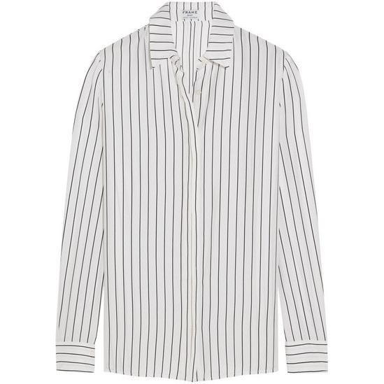 c4463a62d68597 Frame Denim Le Classic Striped Washed Silk-Charmeuse Shirt as seen on  Karlie Kloss