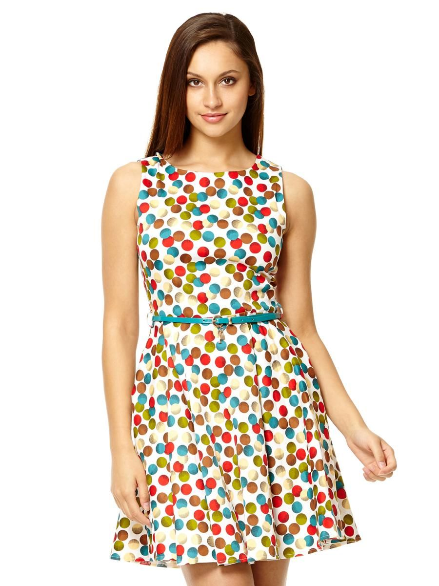 54d3b4e06a8 White Spot Print Belt Dress - Quiz Clothing
