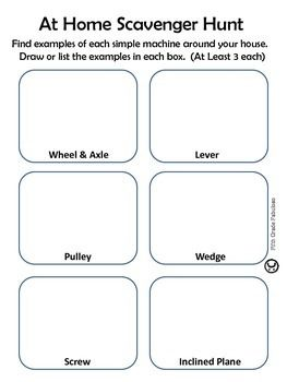 Simple Machines At Home Scavenger Hunt Worksheet With Images