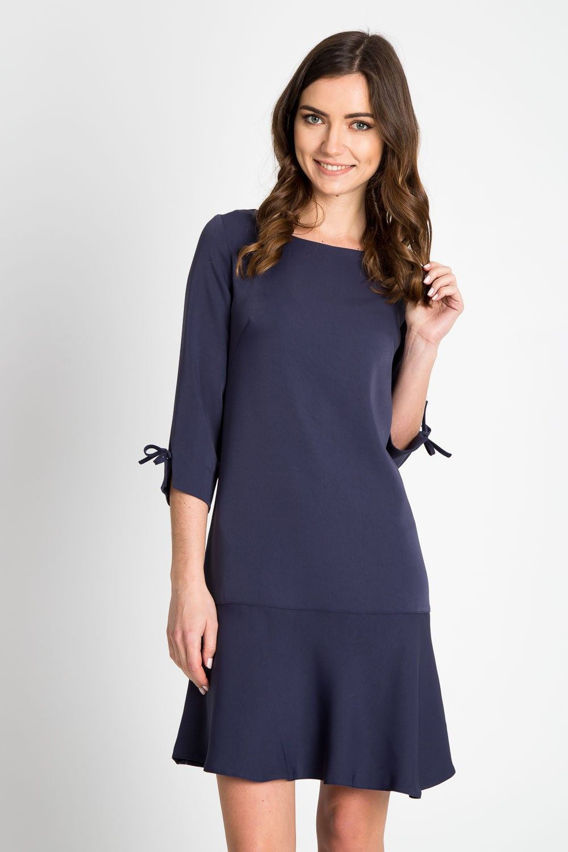 ed32f37027 Granatowa sukienka z obniżonym stanem 4EX004802