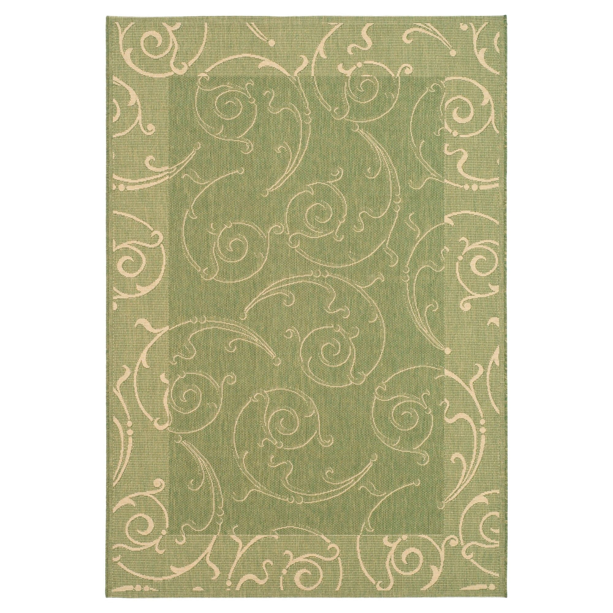 Pembrokeshire Rectangle 9 X 12 Outdoor Patio Rug Natural Olive Safavieh
