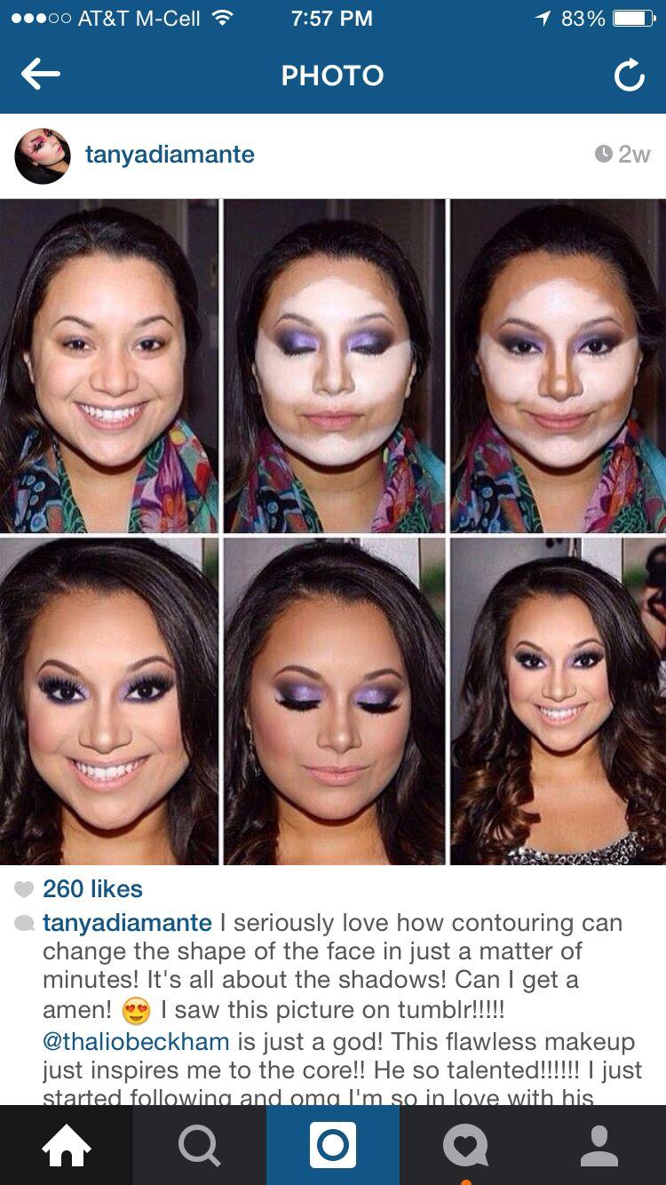 Round face contour  Round face makeup, Contour makeup, Face