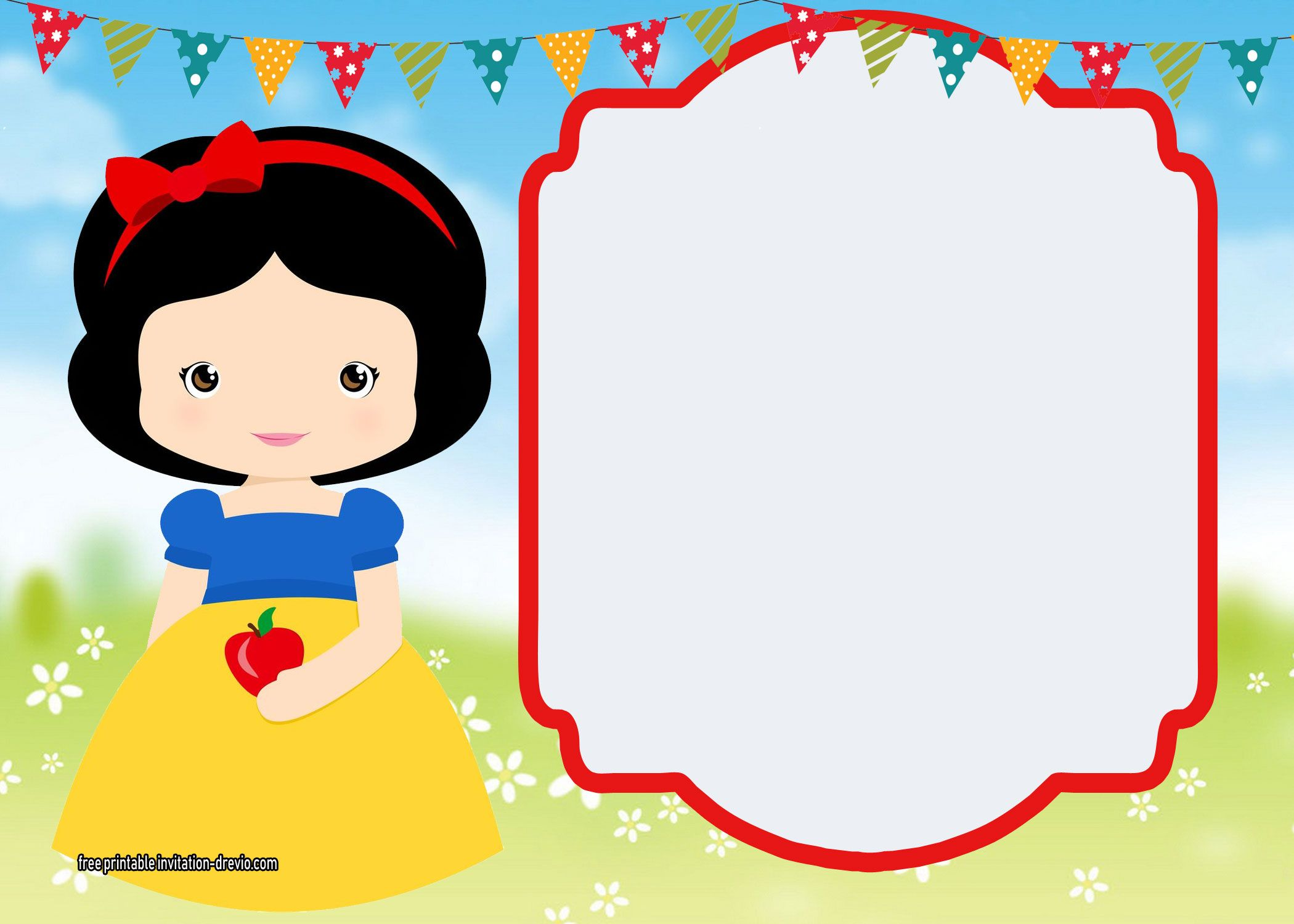 Free Printable Snow White Invitations Complete Edition Convite