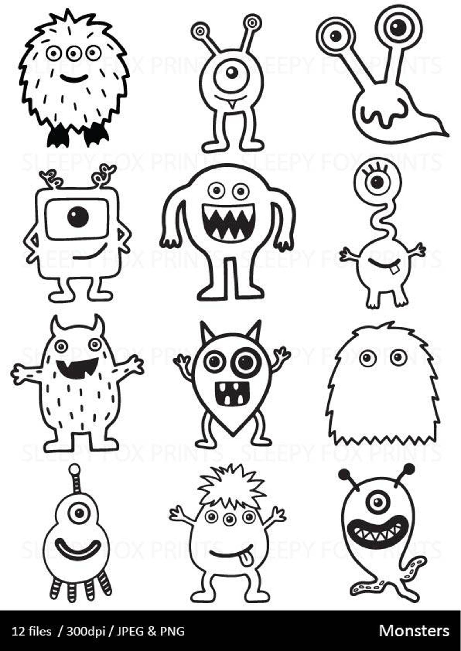 Monsters Clipart Black And White Monster Clip Art Etsy Monster Clipart Easy Doodle Art Doodle Art
