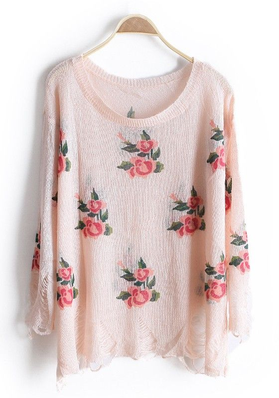Pink Rose Print Hollow-out Round Neck Knit Sweater | Pink roses ...