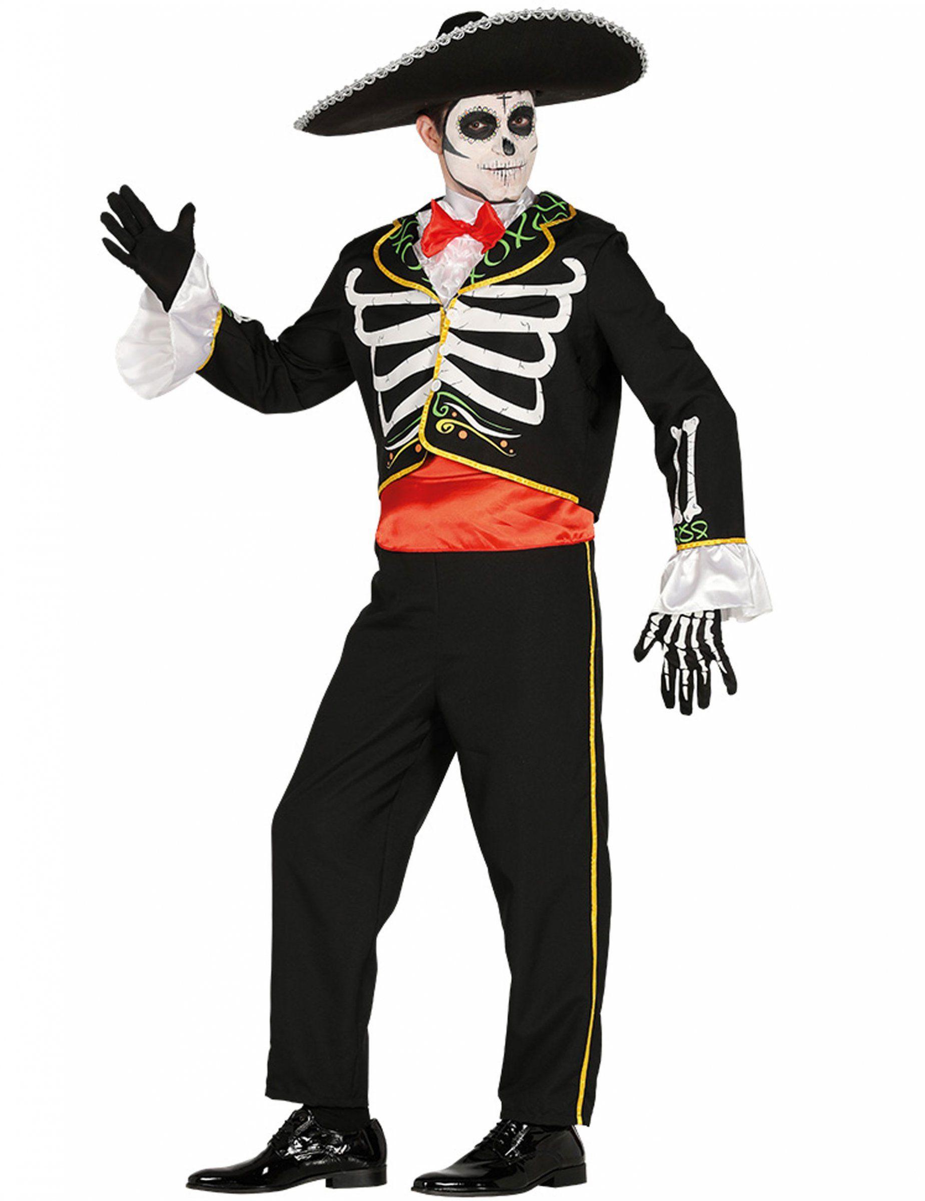 Costume da mariachi scheletro per uomo Dia de los muertos  Un travestimento  da mariachi scheletro 04cbdee1c8f4