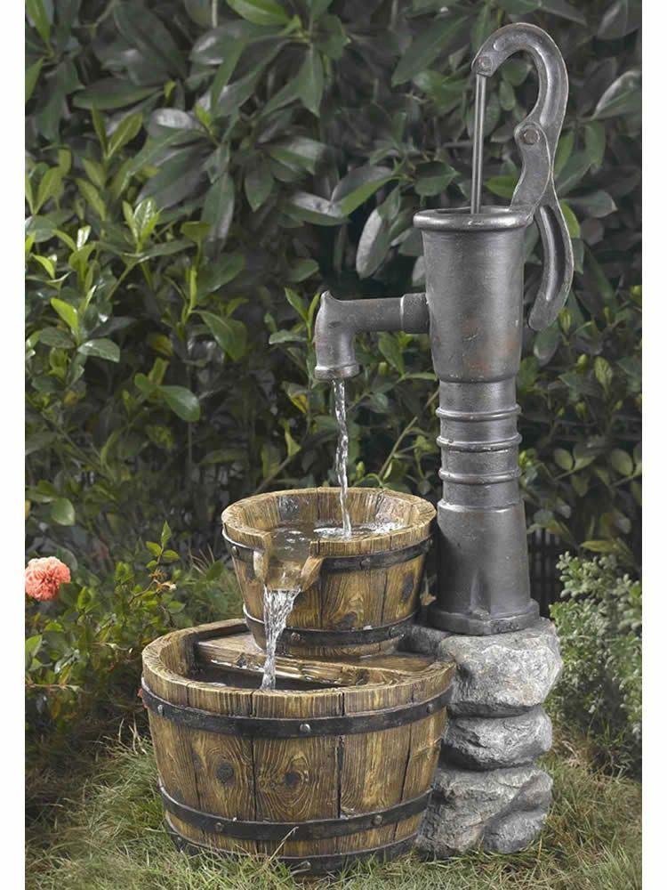 Bucket pump water fountain garden water fountains old