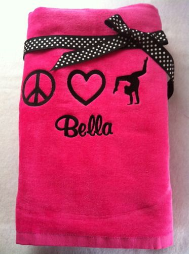 peace love gymnastics beach towel christmas gift by wicked stitches
