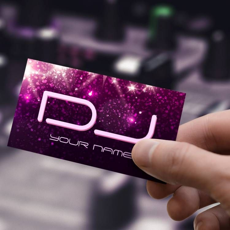 Music DJ - Shiny Pink Glitter Business Card | Custom Business Card ...