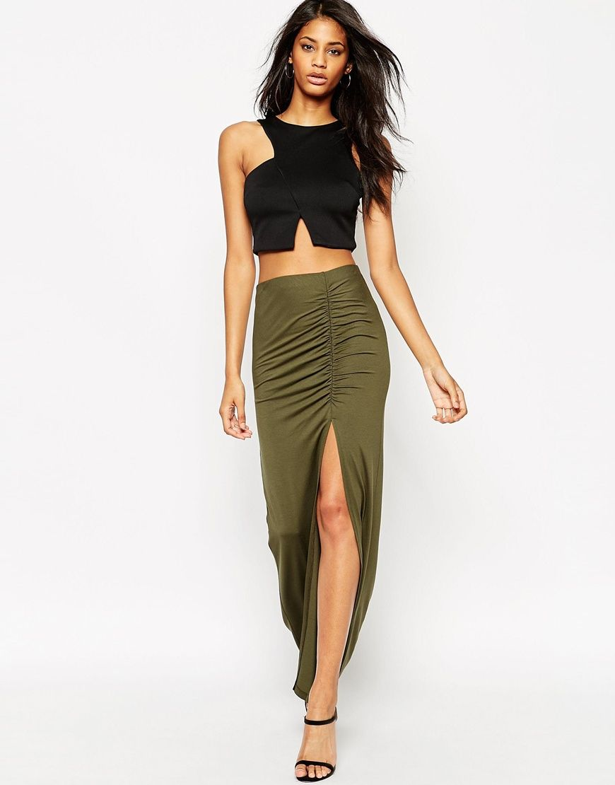 ASOS Maxi Skirt With Ruched Side And Side Split | Costume Ideas ...