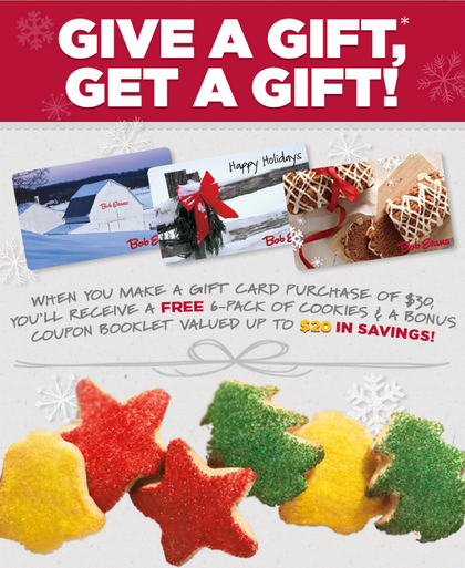 BOB EVANS Purchase A 30 Gift Card Get FREE 6 Pack
