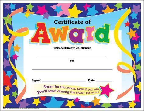 30 Children\u0027s certificates of award star pack (large) Certificate