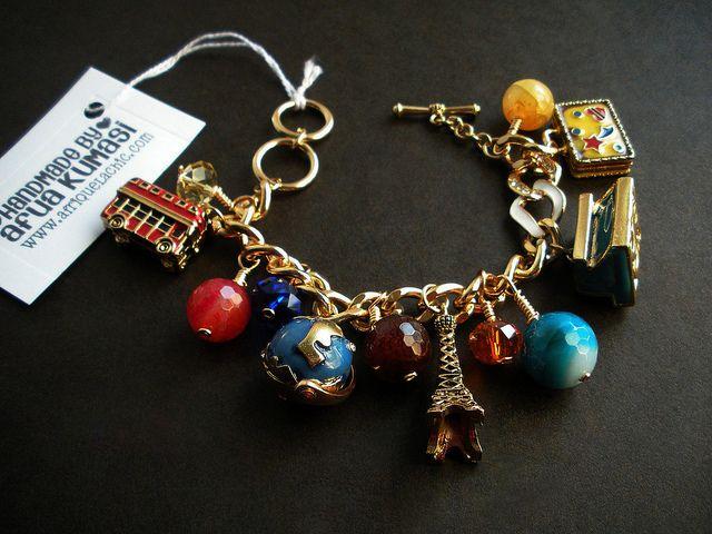 Travel charm bracelet by afriquelachic, via Flickr