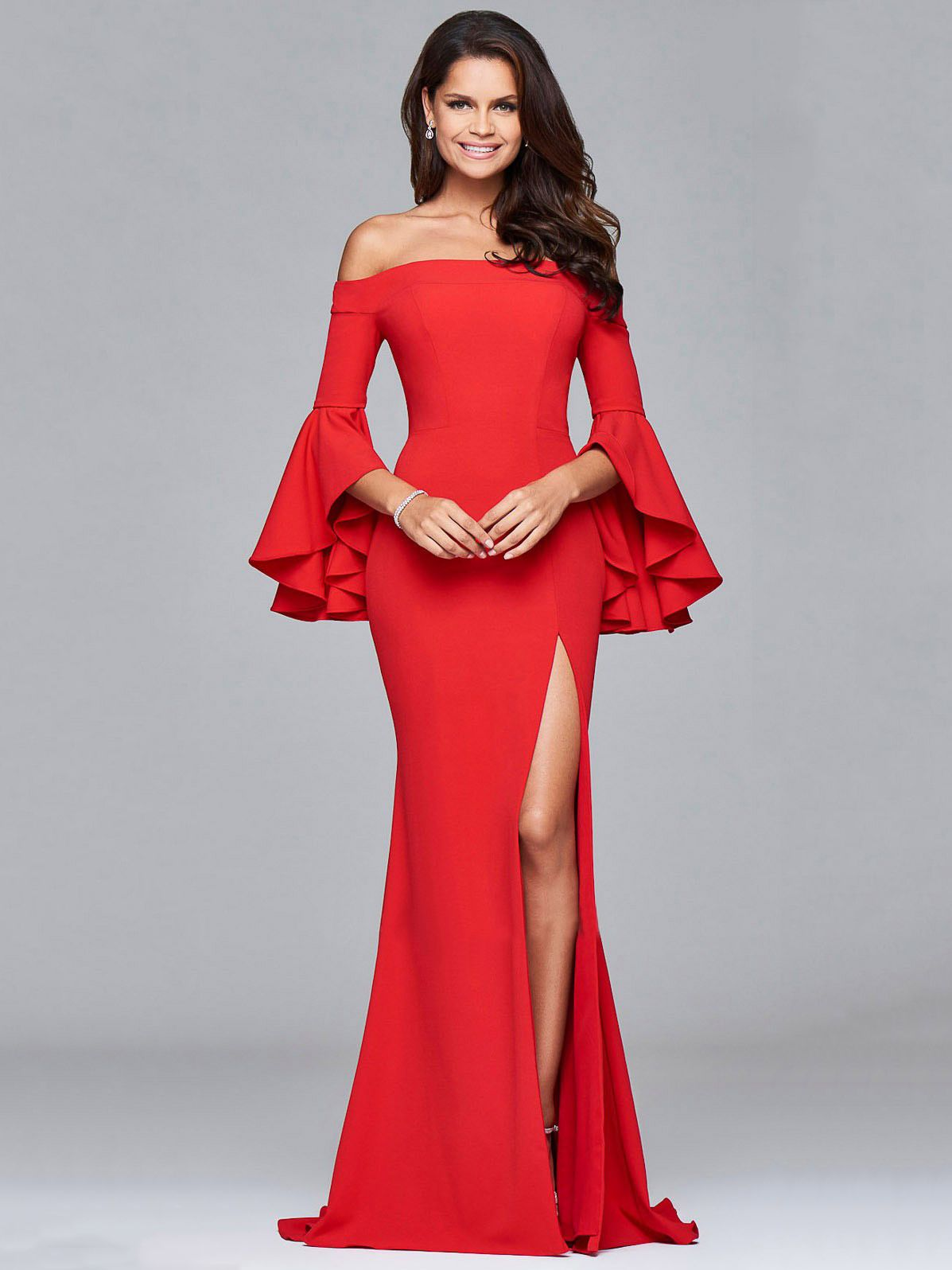 Flare Sleeve Boat Neck Floor Length Gown For Party