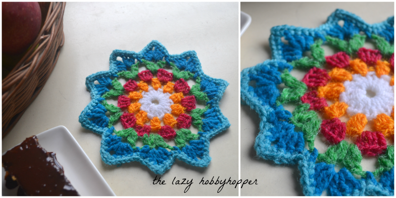 Starry flower coaster, free pattern from The Lazy Hobbyhopper ...