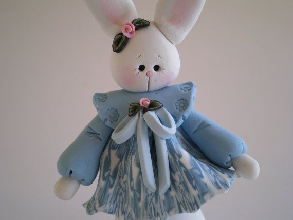 Polymer Clay White Easter Bunny Rabbit in Blue by HelensClayArt, $13.95