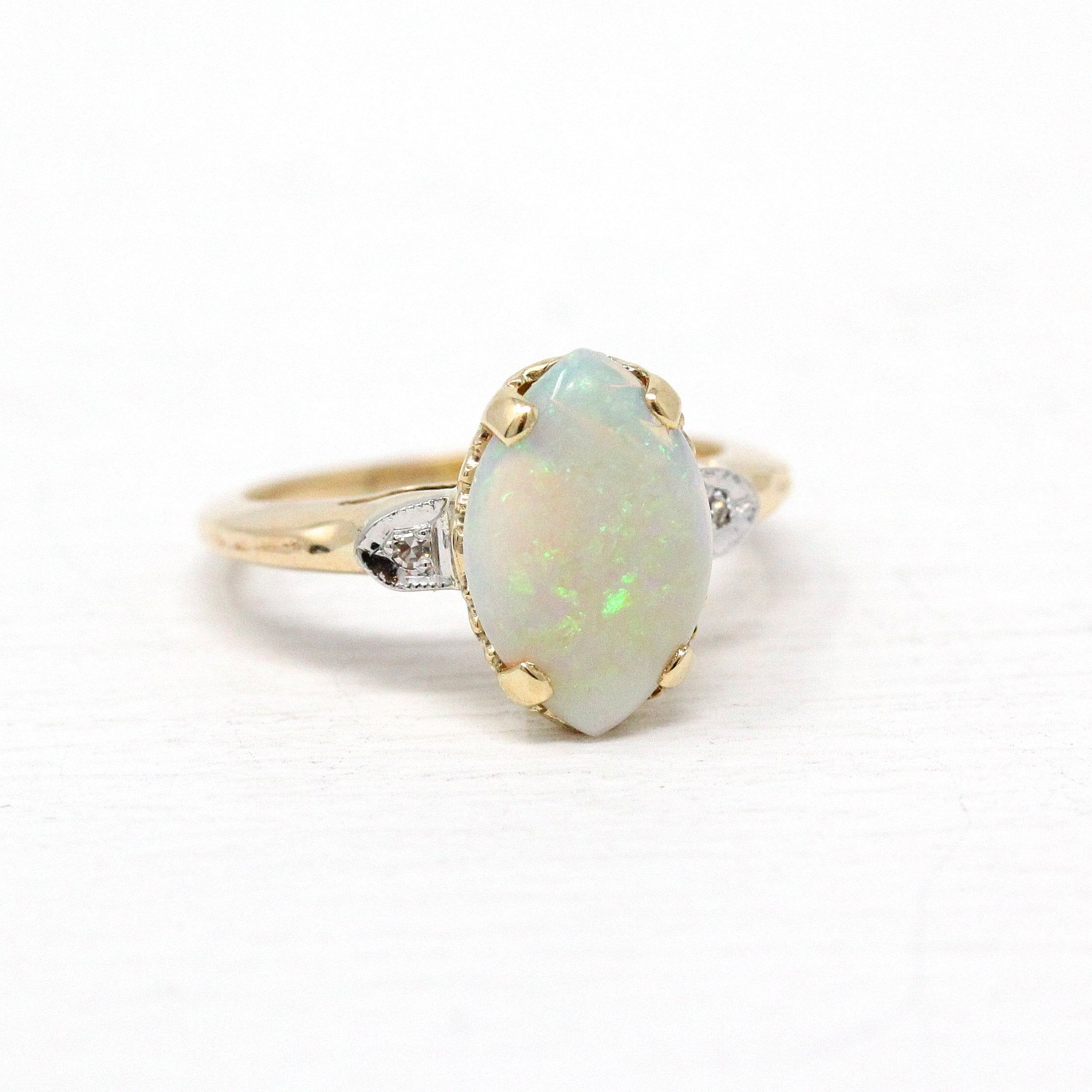 Vintage Opal Ring 10k Rosy Yellow Gold Marquise Genuine Gem Size 4 1 2 October Birthstone Diamond Retro Sig Opal Ring Vintage Retro Jewelry Diamond Outline
