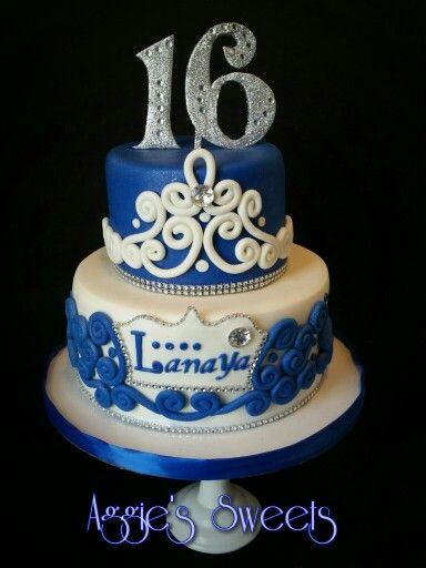 Royal Blue And White Sweet 16 Cake Sweet 16 Cakes 16 Cake Cake