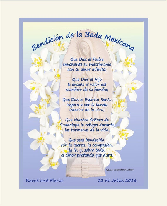 Regalo de bodas mexicano: envío gratis a EE. en español o inglés, Bendición de la Boda Mexicana, regalo de aniversario,