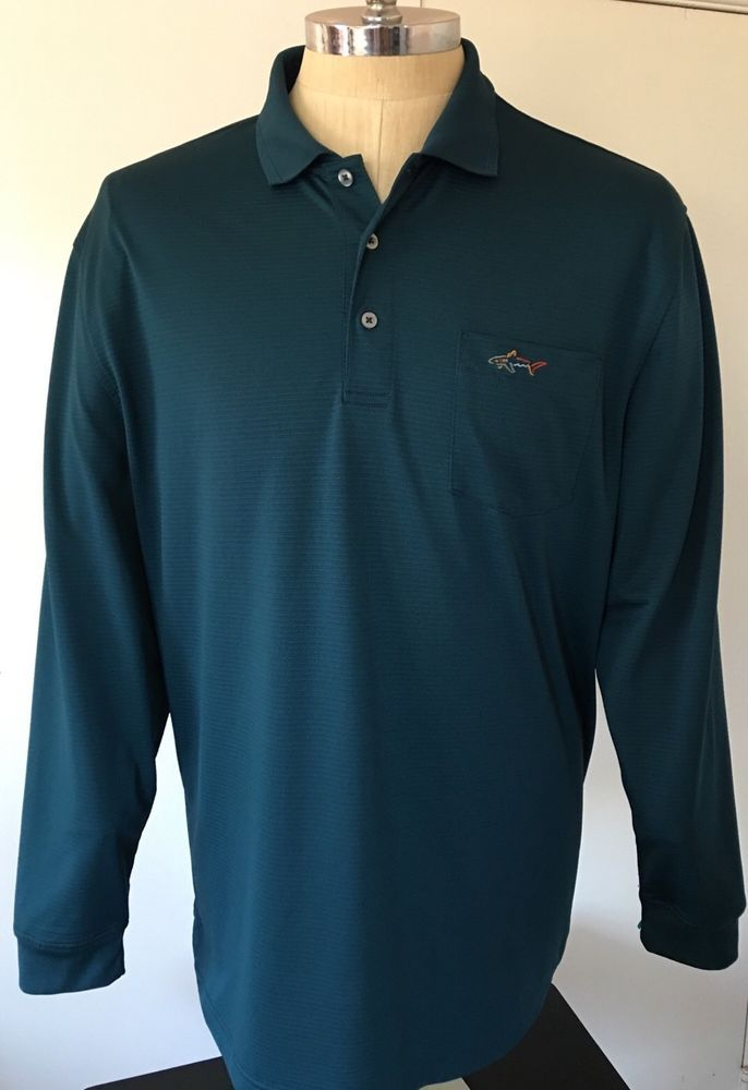 Greg Norman Mens Xl Tasso Elba Green Golf Long Sleeve Polo Pullover Shirt Shark With Images Gentleman Style Mens Outfits Mens Tops