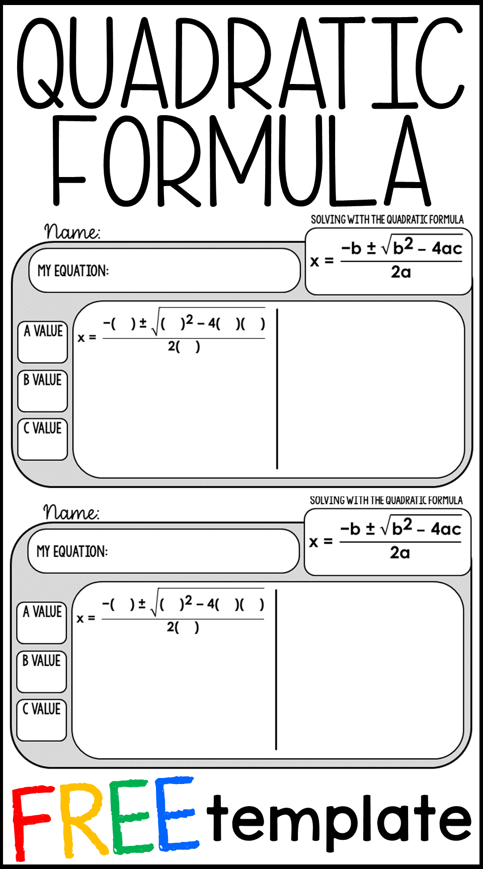 Free Quadratic Formula Warm Up Template Teaching Algebra School Algebra Math Lessons [ 1728 x 960 Pixel ]